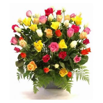 Centro de rosas multicolor