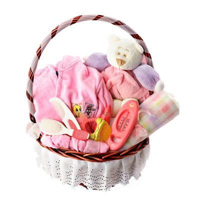 Canastilla ropa de bebe color rosa