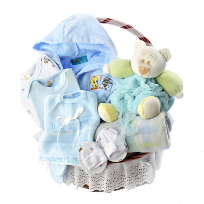 Canastilla ropa de bebe color azul